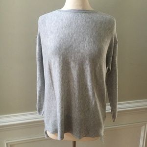 Topshop Heather Gray Hi Lo Oversized Sweater